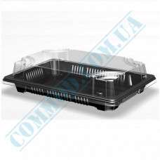 Sushi plastic black containers 184*129*56mm with a transparent lid 600 pieces article 331