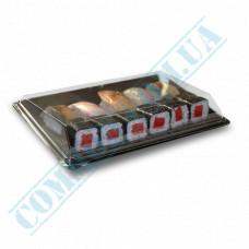 Sushi plastic black containers 183*128*64mm with a transparent lid 420 pieces