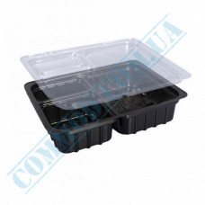 Plastic containers   for wasabi ginger sauce   90*128*27mm   black   with transparent lid   into 3 sections   800 pieces per package