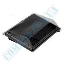 Sushi plastic black containers 183*128*64mm with a transparent lid 4 sections 420 pieces