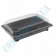 Sushi plastic black containers 212*140*45mm with a transparent lid 320 pieces
