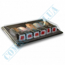 Sushi plastic black containers 235*162*64mm with a transparent lid 220 pieces