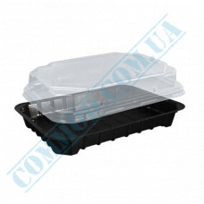 Plastic containers   for sushi   180*138*55mm   black   with transparent lid   for 1 section   380 pieces per package