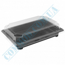 Sushi plastic black containers 242*168*60mm with a transparent lid 220 pieces