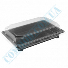 Sushi plastic black containers 188*134*60mm with a transparent lid 420 pieces