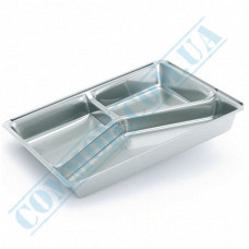 Containers of food foil for 840ml 227*177*30mm 3 sections 100 pieces per pack article SPM6L