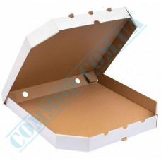 Pizza Boxes White | with beveled corners | 380*380*37mm | 100 pieces per pack