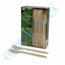 Wooden table forks 165mm 100 pieces PapStar art. 18199