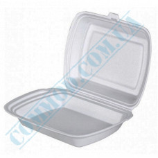 Lunch boxes 240*205*80mm   expanded polystyrene   white   for 1 section   125 pieces per package