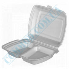 Lunch boxes 240*205*80mm white polystyrene foam 2 sections 250 pieces