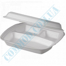 Lunch boxes 240*205*80mm white polystyrene foam 3 sections 250 pieces