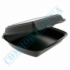 Lunch boxes 240*205*80mm   expanded polystyrene   black   for 1 section   125 pieces per package