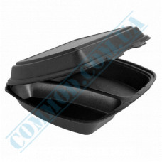 Lunch boxes 240*205*80mm black polystyrene foam 2 sections 250 pieces