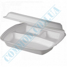 Lunch boxes 240*210*70mm white polystyrene foam 3 sections 480 pieces (Poland)