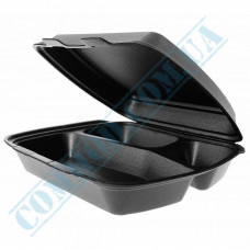 Lunch boxes 240*210*70mm black polystyrene foam 3 sections 480 pieces (Poland)