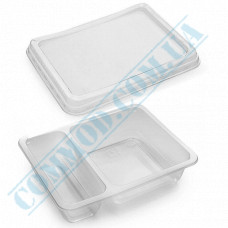 Lunch boxes 190*144*45mm plastic PP 800ml transparent with transparent lid 2 sections (2/30) 50 pieces