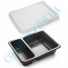 Lunch boxes 190*144*45mm plastic PP 800ml black with transparent lid 2 sections (2/30) 50 pieces