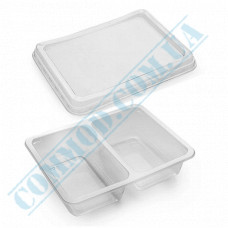 Lunch boxes 190*144*45mm plastic PP 800ml transparent with transparent lid 2 sections (2/50) 50 pieces