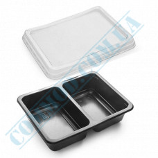 Lunch boxes 190*144*45mm plastic PP 800ml black with transparent lid 2 sections (2/50) 50 pieces