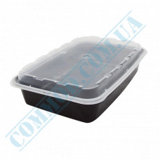 Lunch boxes 207*140*40mm plastic PP 830ml black with transparent lid 150 pieces
