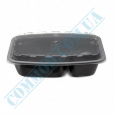 Lunch boxes 211*146*51mm plastic PP 850ml black with transparent lid 2 sections 150 pieces