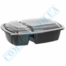 Lunch boxes 230*170*50mm plastic PP 1000ml black with transparent lid 2 sections 50 pieces