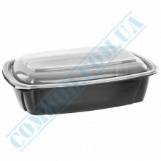 Lunch boxes 230*170*50mm plastic PP 1000ml black with transparent lid 1 section 50 pieces