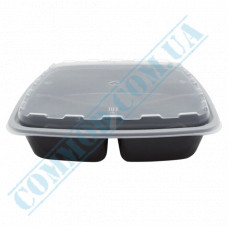 Lunch boxes 229*229*51mm plastic PP 1400ml black with transparent lid 3 sections 100 pieces