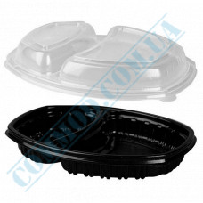 Lunch boxes 257*202*37mm plastic PP 1450ml black with transparent lid 2 sections 70 pieces