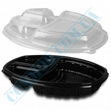 Lunch boxes 257*202*37mm plastic PP 1450ml black with transparent lid 3 sections 70 pieces