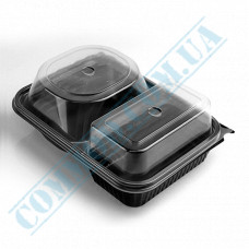 Lunch boxes 230*180*80mm plastic PP 600ml black with transparent lid 2 sections 180 pieces