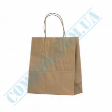 Paper bags 220*200*90mm with handles Kraft 70g/m2 (up to 4kg) 100 pieces per pack article 740