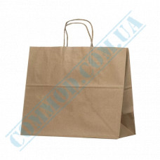 Paper bags 280*320*160mm with handles Kraft 100g/m2 (up to 6kg) 100 pieces article 1072