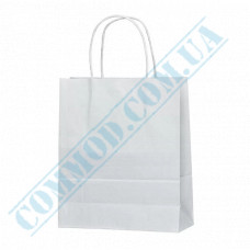 Paper bags 240*200*80mm with handles White 100g/m2 (up to 7kg) 100 pieces article 1191