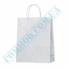 Paper bags 320*250*110mm with handles White 80g/m2 (up to 7kg) 100 pieces per pack article 691