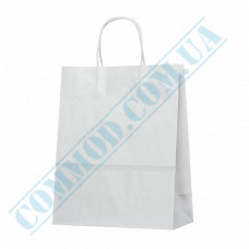 Paper bags 320*250*130mm with handles White 100g/m2 (up to 10kg) 100 pieces per pack article 1027
