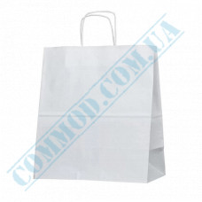 Paper bags 380*340*180mm with handles White 100g/m2 (up to 10kg) 50 pieces article 1888