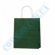 Paper bags 240*200*80mm with handles Dark Green 100g/m2 (up to 7kg) 100 pieces article 1188