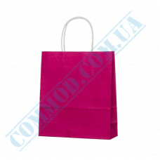 Paper bags 240*200*80mm with handles Pink 100g/m2 (up to 7kg) 100 pieces article 1186
