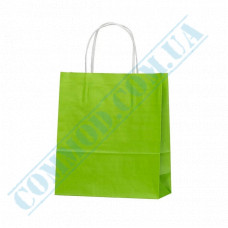 Paper bags 240*200*80mm with handles Light Green 100g/m2 (up to 7kg) 100 pieces article 1187