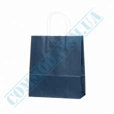 Paper bags 240*200*80mm with handles Dark Blue 100g/m2 (up to 7kg) 100 pieces article 1185