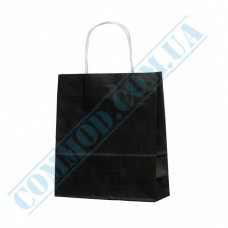 Paper bags 240*200*80mm with handles Black 100g/m2 (up to 7kg) 100 pieces article 1183