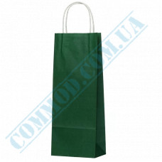 Paper bags 390*150*90mm with handles Dark Green 100g/m2 (up to 5kg) 100 pieces article 1229