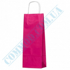 Paper bags 390*150*90mm with handles Pink 100g/m2 (up to 5kg) 100 pieces article 1230