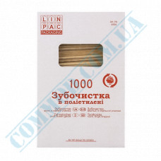 Wooden toothpicks | 65mm | in individual polyethylene packaging | Linpac | 1000 pieces per pack
