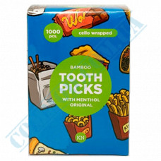Bamboo Toothpicks | 65mm | in individual polyethylene packaging | with mint | KTP | 1000 pieces per pack