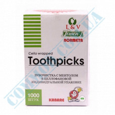 Toothpicks wooden 65mm 1000 pieces in individual plastic packaging with menthol KTP