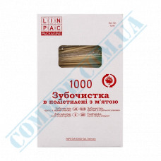 Toothpicks wooden 65mm 1000 pieces in individual plastic packaging with menthol Linpac