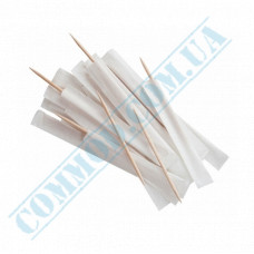 Wooden toothpicks 68mm 1000 pieces in individual paper packaging in a plastic bag