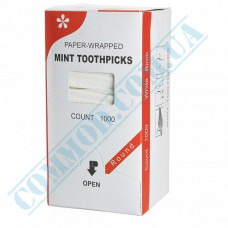 Wooden toothpicks 68mm 1000 pieces in individual paper packaging with menthol KTP